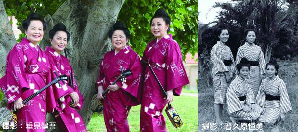 (左:伊波みどり、久美子、貞子、智恵子 右:1971年頃のフォーシスターズ)